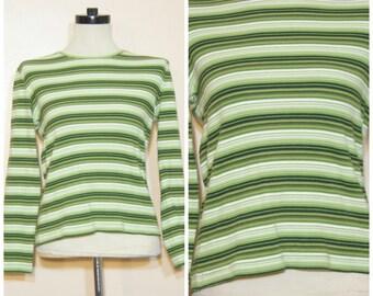 90s Grunge Green Stripe Shirt Medium Large Long Sleeve Tee