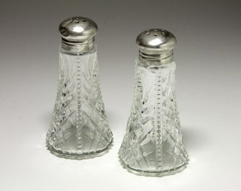 Vintage Sterling Silver Lidded Salt and Pepper Shakers -  circa 1950's
