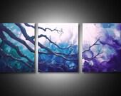 Abstract triptych art large canvas art modern wall art  20x48 purple blue green art
