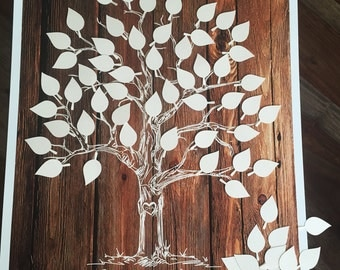 Wedding Tree guest book alternative poster, Rustic wedding, unique guestbook ideas, wood guest book tree with cut out leaves, family reunion