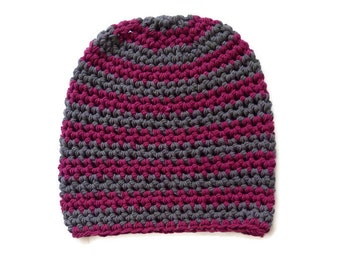 SLOUCH crochet striped  grey and pink hat Unisex Vegan Hat