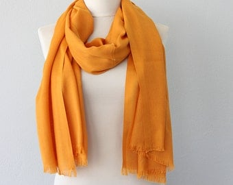 Pashmina scarf Dark yellow shawl Pashmina wrap Autumn fall accessories Neck scarf Bright mustard yellow Gift for her
