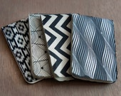 black and white notebook four pack