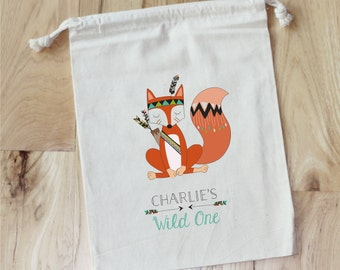 WILD ONE Tribal Party Animals -  Personalized Favor Bags - Set of 10 - Birthday - Fox - Arrows