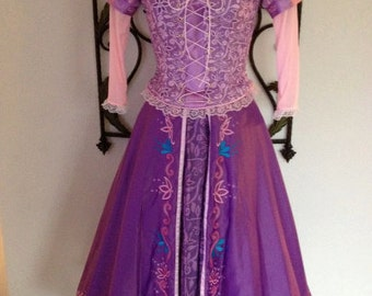 shipping in Early August 2017  Ladies 2/4  4/6 6/8 or custom fitted  Embroidered Tangled Rapunzel dress  See Description