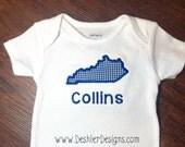 State of Kentucky Applique Onesie - Kentucky Onesie - UK Onesie - UK baby gift - state onesie - Kentucky State onesie