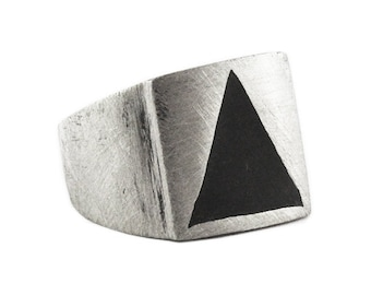 Man Triangle Ring Silver Signet Rings Carpe Diem Personalized Jewelry