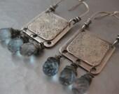 Sterling Silver Square Earrings with Blue Topaz Teardrops