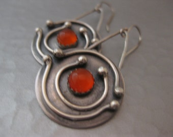 Solar System Earrings Medium Round Disk Sterling Silver Orange Carnelian Earrings