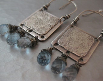 Sterling Silver Square Earrings with Blue Topaz Teardrops