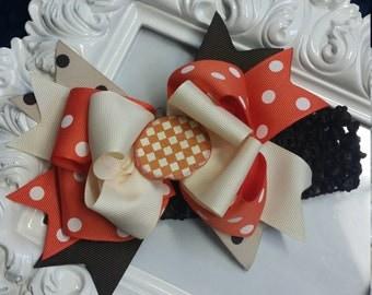 Halloween Pumpkin Spikey Layered Boutique Bow and Headband..Great for Newborn Toddler big Girl