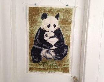 Vintage Irish Linen Towel, Vintage Ulster Linen Towel, Panda Tea Towel, Vintage Pandas, World Wildlife Fund Design, Panda Mom and Cub