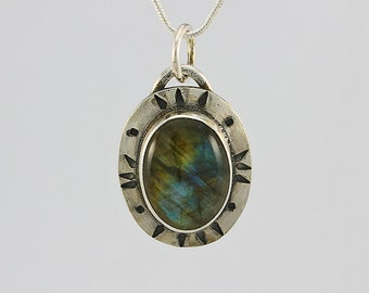 Handcrafted Sterling Silver and Labradorite Pendant Hand Stamped Design Oval Natural Stone Contemporary Artisan Design Jewelry 8112527682915