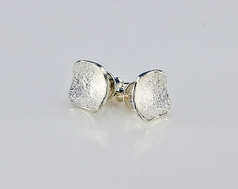 Handcrafted Sterling Silver Small Square Post/Stud Earrings Silverdust Texture Contemporary Artisan Design Jewelry 85265380101115