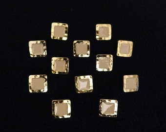 "Vintage Ivory in Gold Square Glossy 5/8"" Shank Button -- 12 pcs   (B510)"