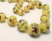 Vintage Venetian glass bead necklace. Swirled glass beads. Yellow green