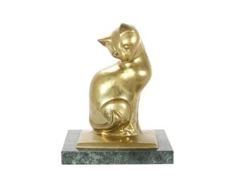 vintage brass cat on marble base