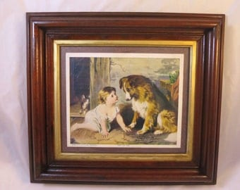 "Antique Baby Collie Dog Print Walnut Frame Gilt Liner George A. Holmes Print ""Can't You Talk"" Victorian Walnut Frame 18 x 16 inches"