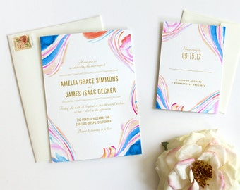 Watercolor Wedding Invitation - Marbled Pattern - Modern Wedding Invitation