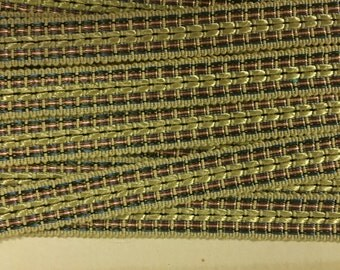 Vintage Ribbon Trim, Woven Gold, Beige Background with Blue and Red, 9/16 inch wide, 2 yard lengths