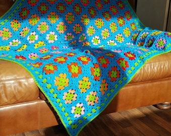 Retro Granny Squares Azure Blue Blanket Afghan Ready To SHIP