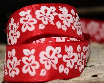 Red with White Flowers Ribbon 7/8'