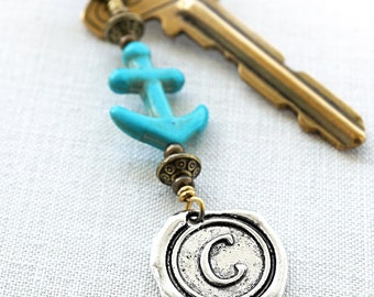 Summer Party Gift Personalized Keychain Turquoise Anchor Keychain Nautical Gift for man Wax Seal Initial Keychain Monogram gift for dad