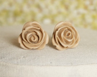Handmade Tan Rose Earrings Resin Flower Post Earrings Light Brown Flower Earrings Tan Post Earrings Tan Earrings Resin Rose Earrings