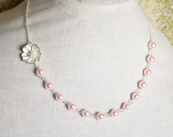 Handmade Pink Necklace Pink Pearl Necklace Pink Flower Pearl Asymmetrical Pink Flower Necklace Pink Bridesmaid Pink Wedding Light Pink Pearl