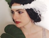 1920's costume headband, flapper headband- white velvet, pearl flower, white ostrich feathers - ready to ship