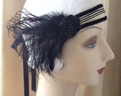 sale- 20's flapper headdress of 1920's striped trim in black and white with spiral flowers edwardian circus victorian gothic - ready to ship