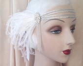 andromeda - flapper headband with 20's beading, vintage rhinestones and white feathers