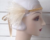 silver, gold or black 1920's flapper headband with vintage beaded band, vintage style rhinestone button and black white or ivory feathers