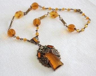 Vintage Egyptian Art Deco Amber Czech Glass Necklace