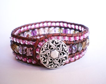Pink Bracelet Czech Glass Cuff Translucent Multi Glass Jewelry