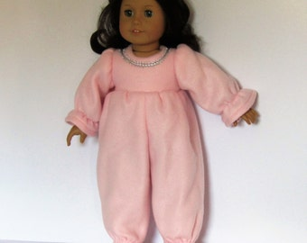 Pink Fleece Pajamas with Silver Trim Made to fit Dolls Like Gotz or American Girl -  Doll Clothes 18""