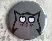 Cat Pocket Mirror, hand-pressed grey handbag mirror featuring Bob the cat