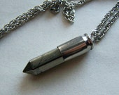 Gold Pyrite Silver Bullet Jewelry Pendant