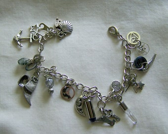 Steampunk Bracelet Assorted Silver Charms Watch Parts Crystals