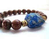 Lapis Lazuli and Palmwood Bracelet / Natural Rough Cut Lapis & Wood Stacking Bracelet / Deep Blue Matrix Gemstone / Yoga Meditation Energy