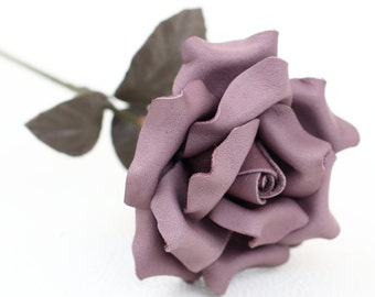 Levender purple leather rose third Anniversary wedding gift Long Stem leather Flower Valentines 3rd Leather Anniversary