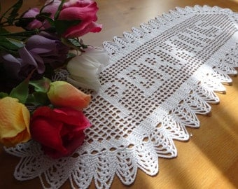 Personalized Crochet Doily personalized doily custom crochet name  gift crochet doily letter