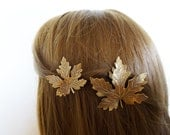 Fall Hair Clips Autumn Accessories Bride Bridal Barrettes Bridesmaid Rustic Woodland Weddings Nature Garden Botanical Womens Gift For Her