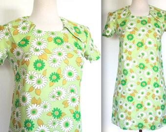 Vintage 1960's Dress // 60s Mini Mod Green Floral Print Babydoll Dress // Rosemary's Baby