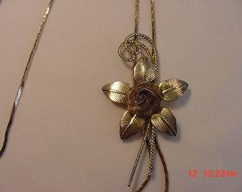 Vintage Rose Flower Slider Necklace  16 - 509