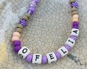 Purple DOG Necklace Personalized Name Custom Flowers