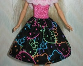"""Handmade 11.5"""" fashion doll clothes - pink, black and neon print hello kitty dress with lace trim"""
