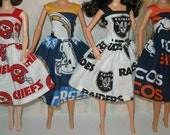 """Handmade 11.5"""" fashion doll clothes - Your Choice -football dress - Cheifs, Chargers, Raiders or Broncos"""