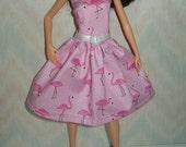 "Handmade 11.5"" fashion doll dress - Pink flamingo dress"