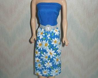 "Handmade 11.5"" Fashion Doll clothes - blue and white daisy dress"